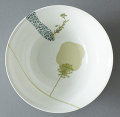 Wild Carrot and Old-Man-In-The-Spring on Bed of Marigold China Serving Dish