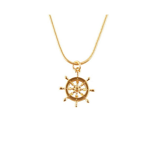 Gold Captains Wheel Pendant, Roz Buehrlen