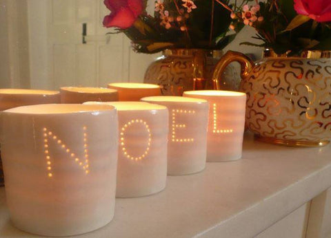 Noel Letter Minis Tealight Holder Set, Luna Lighting - CultureLabel
