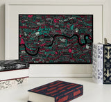 Literary London Map (Red & Green), Run For The Hills - CultureLabel - 2 (framed)
