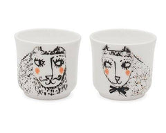 Set of Two Cat Egg Cups, Katy Leigh Alternate View