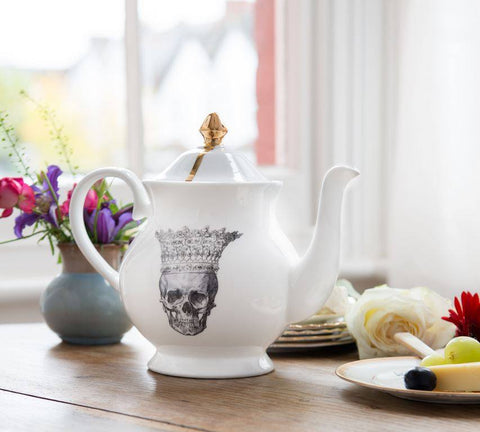 Skull in Crown Jubilee Teapot, Melody Rose Alternate View