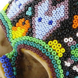 Huichol Indian Art Skull, The British Museum - CultureLabel - 4 (detail- close up on beading)