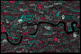 Literary London Map (Red & Green), Run For The Hills - CultureLabel