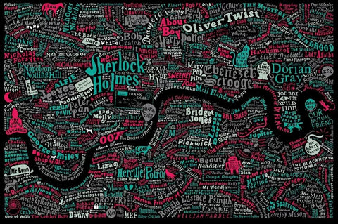 Literary London Map (Red & Green), Run For The Hills