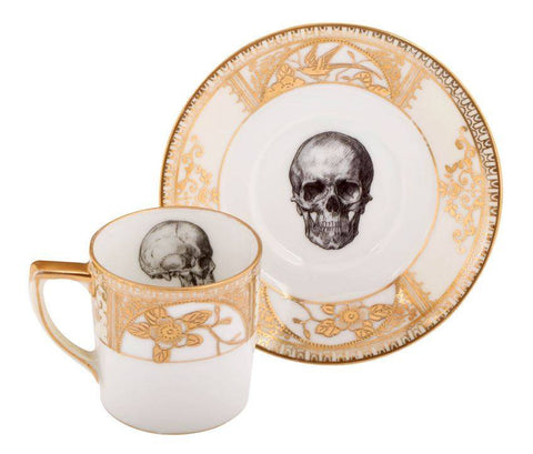 Upcycled Skull Design Gold Espresso Set of 2, Melody Rose
