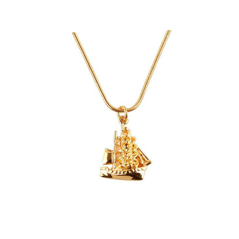 Gold Clipper Ship Pendant, Roz Buehrlen - CultureLabel