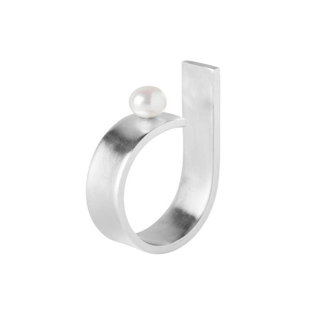 Pearl - Open Ring With a White Pearl, Dorota Todd - CultureLabel - 1