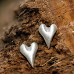 Handmade Wild at Heart Sterling Silver Stud Earrings, Pretty Wild Jewellery Alternate View