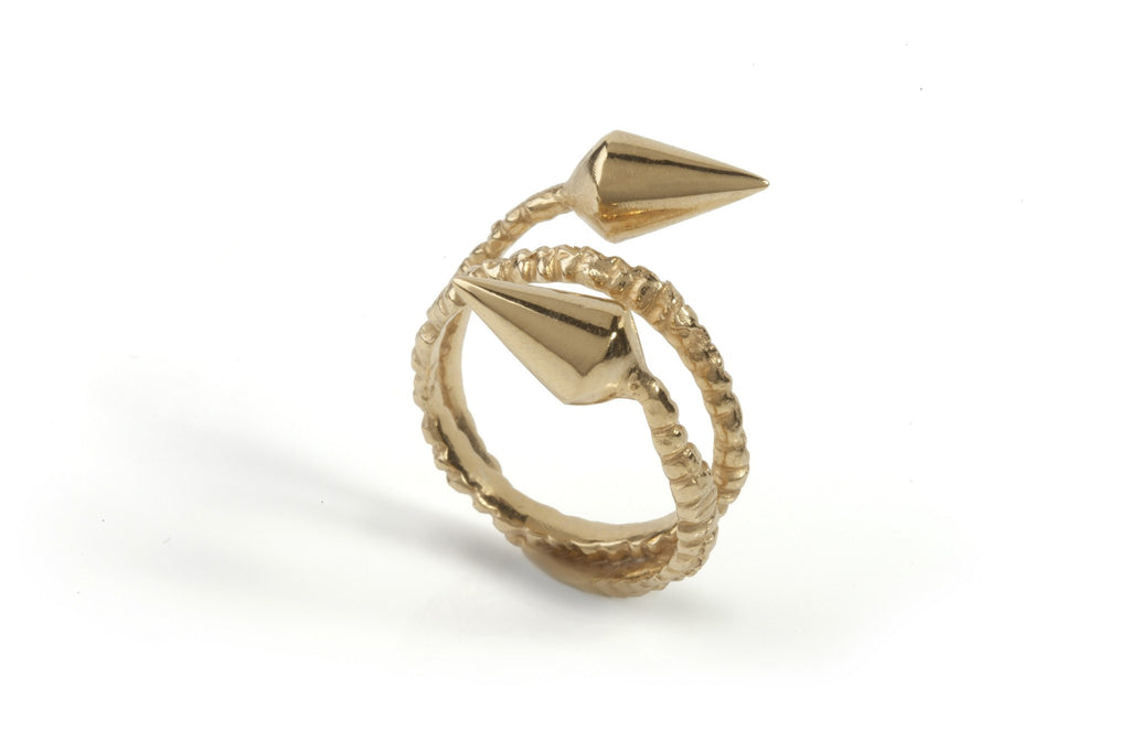 Gold Double Spike Ring, Ros Millar - CultureLabel - 1