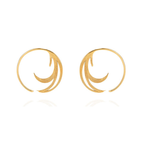 Duck Feather Hoop Earrings, Lee Renée - CultureLabel