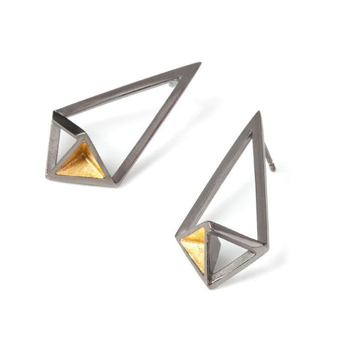 Shard Black Rhodium Earrings, Stephanie Ray