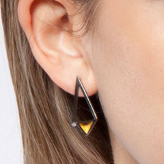 Shard Black Rhodium Earrings, Stephanie Ray Alternate View