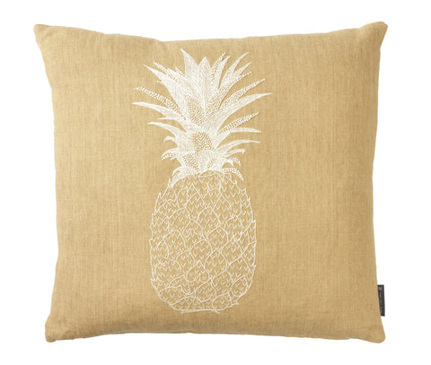 Pineapple - White on Beige, Fine Cell Work - CultureLabel