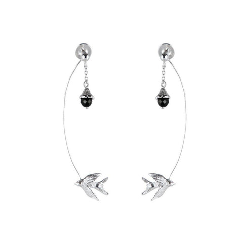 Silver Swallow Flower Earrings, Roz Buehrlen - CultureLabel
