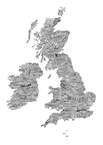 Great British Type Map, Run For The Hills - CultureLabel - 1 (full image; white)