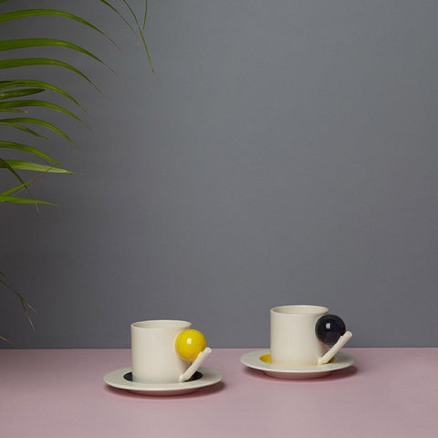 Geometric Cup & Saucer - Colour, Design K - CultureLabel