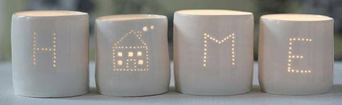 House and Home Letter minis tealight holder set, Luna Lighting - CultureLabel