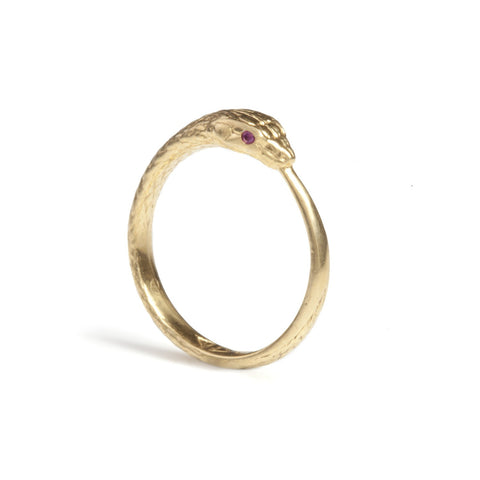 Gold Ouroboros Snake Ring Limited Edition with Precious Stones, Rachel Entwistle - CultureLabel