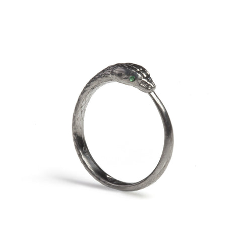 Black Rhodium Ouroboros Snake Ring Limited Edition with Precious Stones, Rachel Entwistle