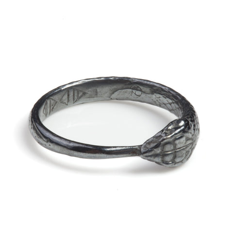 Black Rhodium Ouroboros Snake Ring, Rachel Entwistle