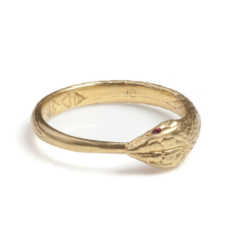 Gold Ouroboros Snake Ring Limited Edition with Precious Stones, Rachel Entwistle - CultureLabel - 1