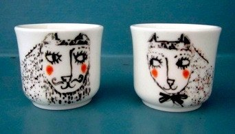 Set of Two Cat Egg Cups, Katy Leigh - CultureLabel - 1