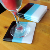 Set of Four Deco Fused Glass Coasters Design 1, RD Glass