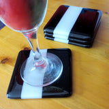 Set of Four Deco Fused Glass Coasters Design 2, RD Glass