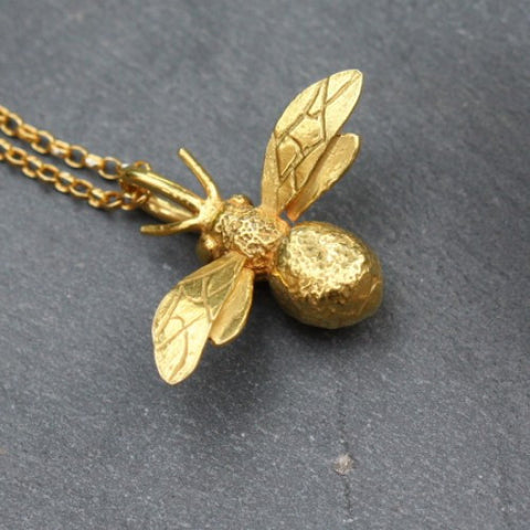Handmade 18ct Yellow Gold Vermeil Bumblebee Necklace, Pretty Wild Jewellery - CultureLabel - 1