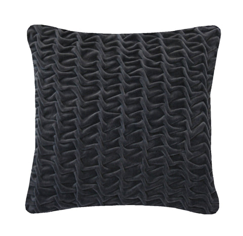 Hand Stitched Swirl Cushion Charcoal, Nitin Goyal - CultureLabel - 1