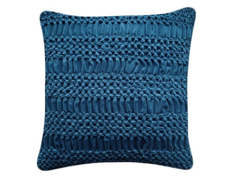 Hand Stiched Striped Flower Cushion Teal, Nitin Goyal - CultureLabel - 1