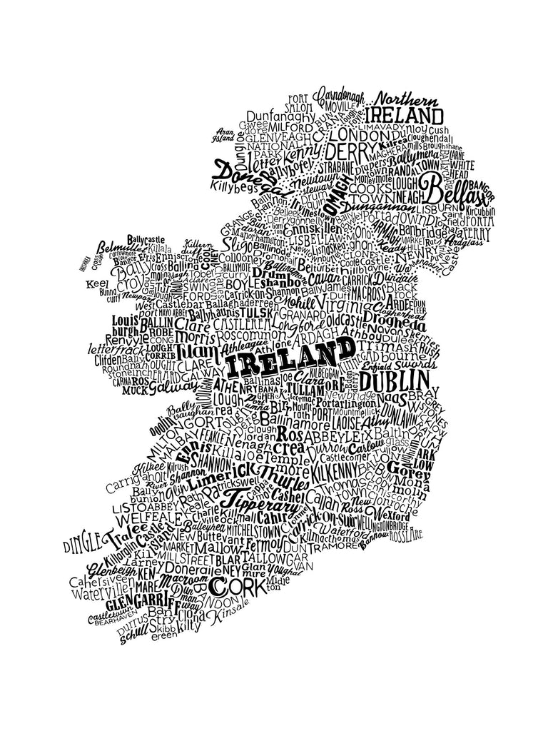 Ireland Type Map, Run For The Hills - CultureLabel - 1 (black- full image)