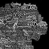 Ireland Type Map, Run For The Hills - CultureLabel - 6 (black; close up 'Ireland')