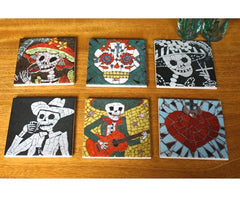 Set of Six Coaster Tiles, Juan is Dead Alternate View