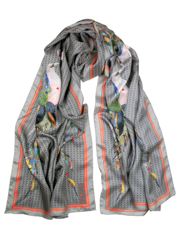 Jackdaw Grand Silk Scarf, Little Wolf - CultureLabel - 1