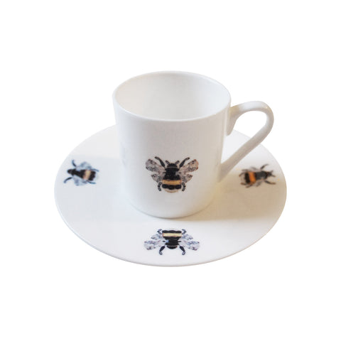 Bumble Bees Fine Bone China Espresso Cup and Saucer, Kim Sera