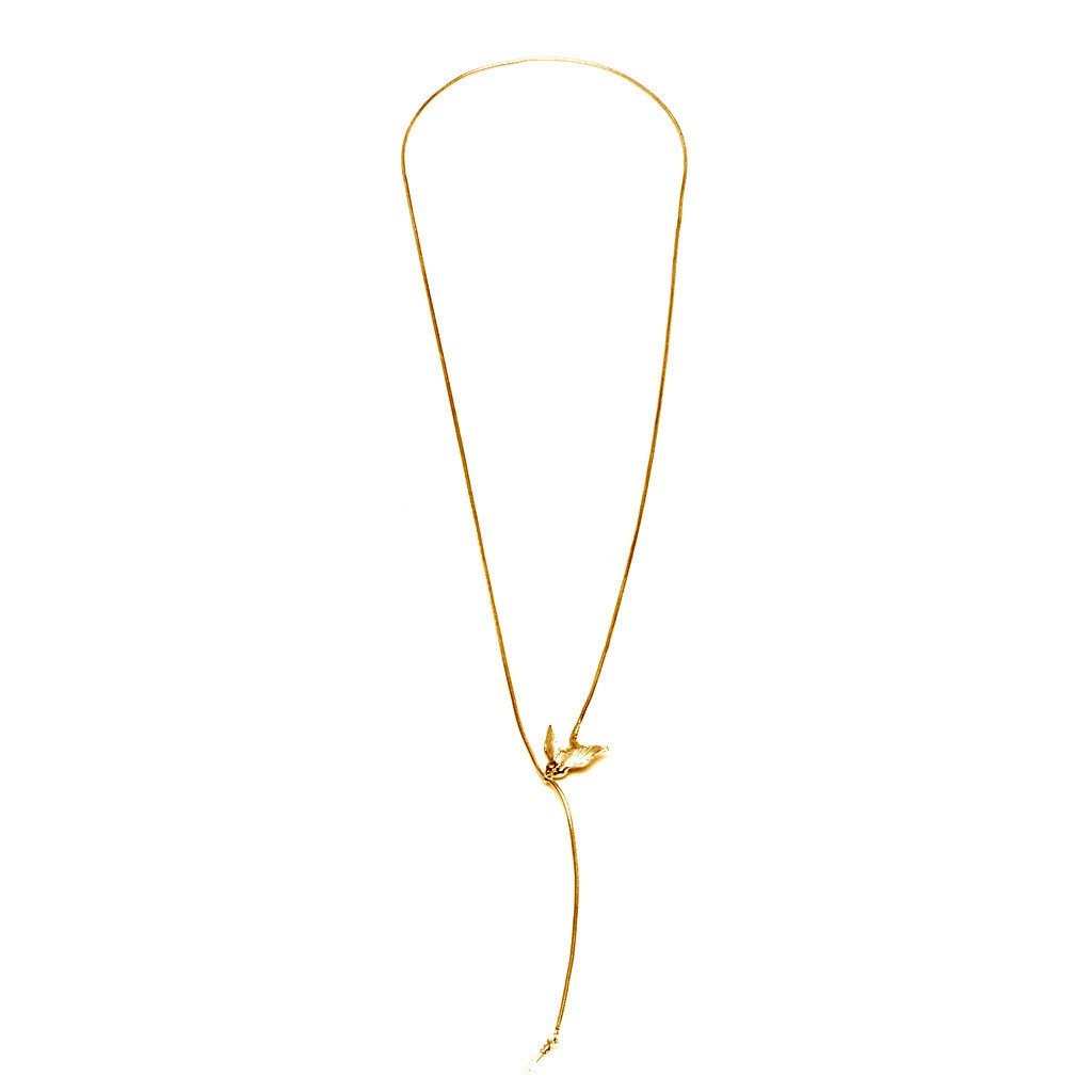 Gold Swallow and Key Necklace, Roz Buehrlen - CultureLabel - 1