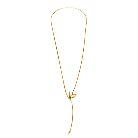 Gold Swallow and Key Necklace, Roz Buehrlen - CultureLabel