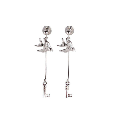 Silver Swallow and Key Earrings, Roz Buehrlen