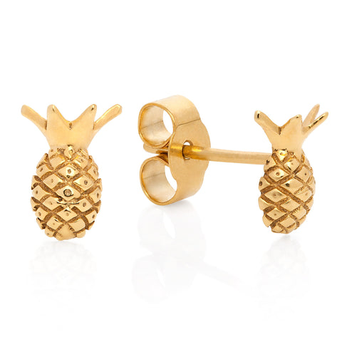 Gold Pineapple Stud Earrings, Lee Renée - CultureLabel