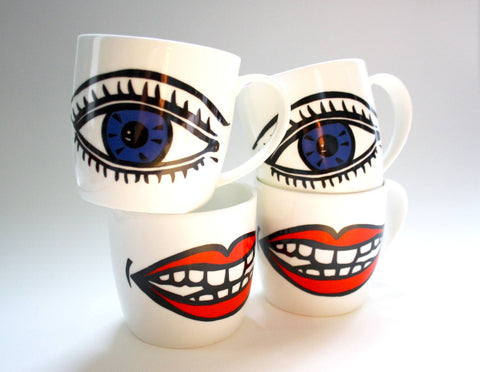 Lips and Eyes Mugs Set, Janet Milner - CultureLabel