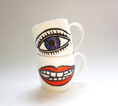 Lips and Eyes Mugs Set, Janet Milner Alternate View
