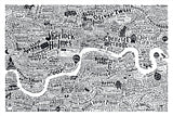 Literary London Map, Run For The Hills - CultureLabel - 3 (white; full image)