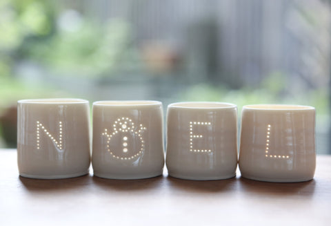 Noel Snowman Letter Minis Tealight Holder Set, Luna Lighting