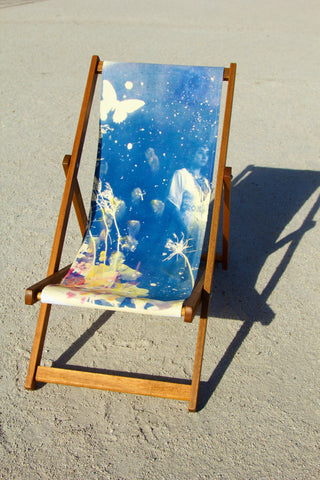 Ebony Deckchair, (side view- butterflies & stars blue print) Rosie Emerson - CultureLabel - 1