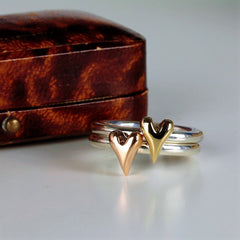 Handmade Wild at Heart Gold Heart Silver Ring, Pretty Wild Jewellery