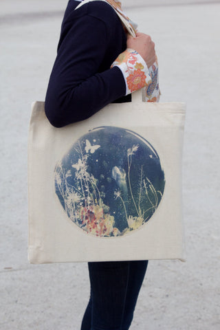 Ebony Tote Bag, (side view with model) Rosie Emerson - CultureLabel - 1