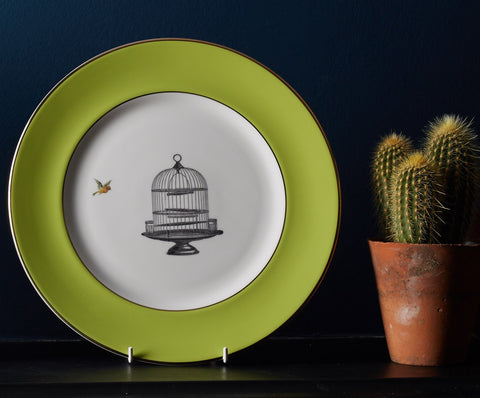 Green Birdcage Dinner Plate, Melody Rose