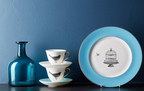 Blue Birdcage Dinner Plate, Melody Rose - CultureLabel